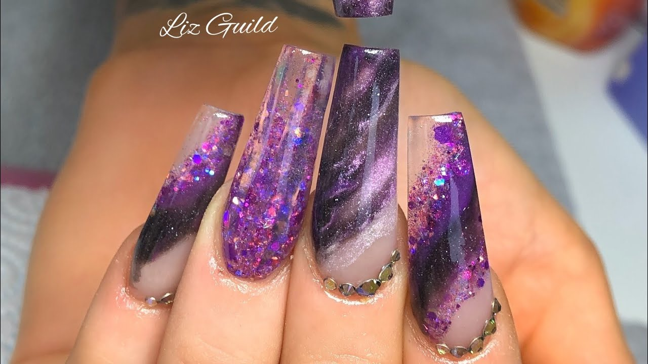 Midnight Purple And Black Sparkly Acrylic Nails Youtube