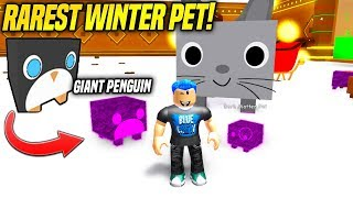 "Ho finalmente ottenuto il RAREST WINTER PET IN PET SIMULATOR!! ""DARK MATTER GIANT PENGUIN"" (Roblox)"