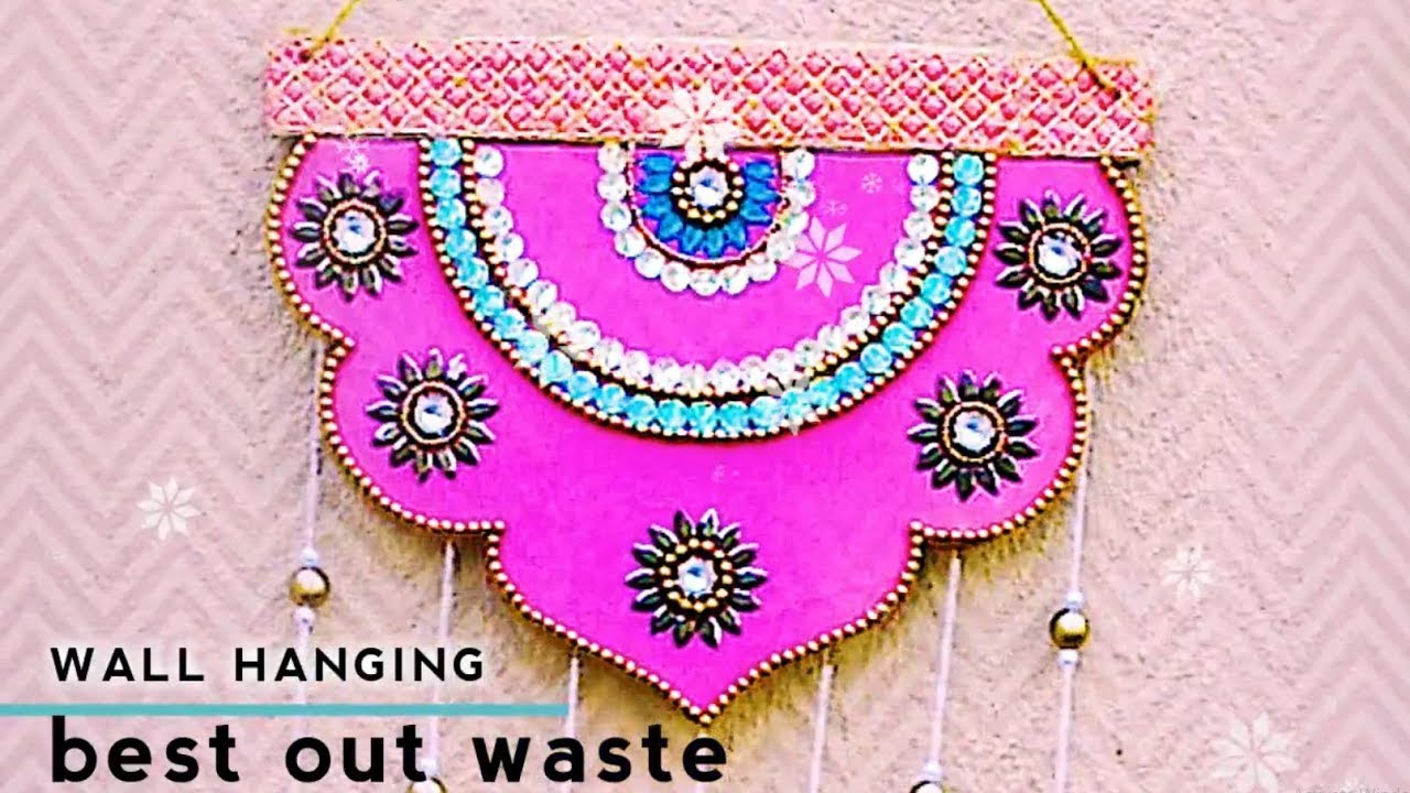 Best out of waste wall hanging diy newspaper for Wall hanging out of waste