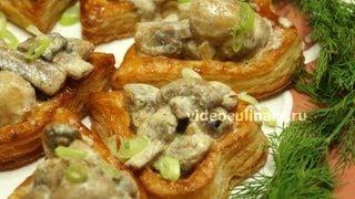 Слоеные сердечки с грибами - Рецепт Бабушки Эммы