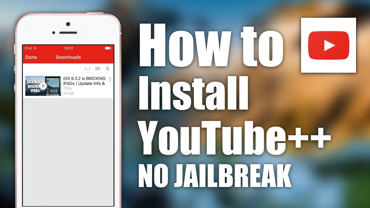 NEW Download YouTube ++ FREE iOS 9 / 10 - 10 2 1 NO Jailbreak NO Computer  iPhone iPad iPod Touch