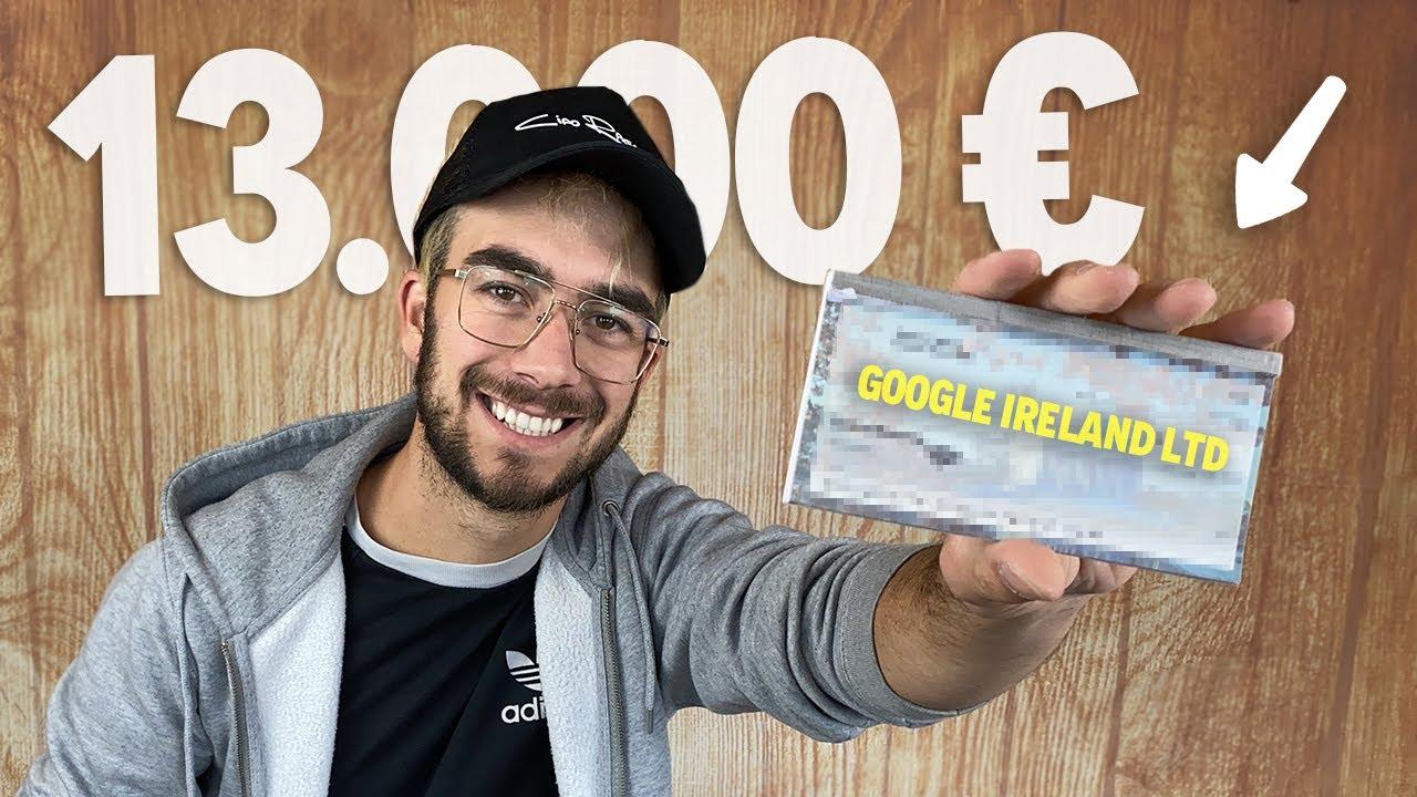 IL MIO PRIMO ASSEGNO DA YOUTUBE 13.000 EURO!
