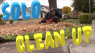 Solo Saturday leaf cleanup with Scag Clam shell bagger