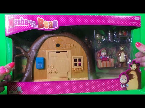 UNBOXING MASHA AND THE BEAR  BEAR'S HOUSE PORTABLE PLAY SET & STORY WITH MASHA AND THE MAGIC TRUNK