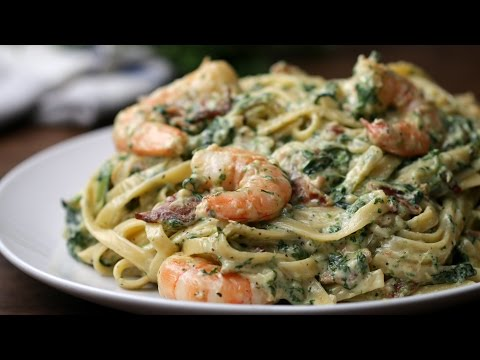 Shrimp Spinach Bacon Alfredo