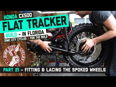 CX500 Flat Tracker Build Part 21 - Comstar Hub Conversion Fitting & Lacing The Spoked Wheels.