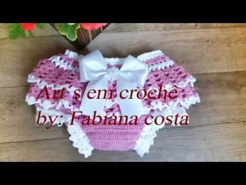 acf55259c calcinha de crochê infantil com babado  Tam  01 a 04 meses - YouTube