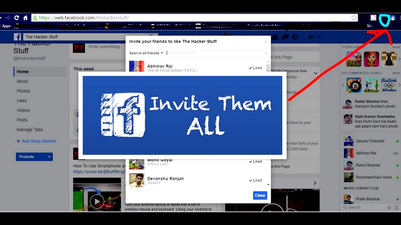 Invite All Friends To Like Facebook Page In One