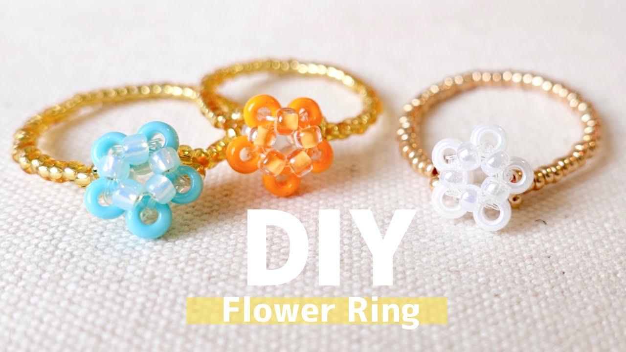 DIY How to make Beaded Flower Rings seed beads easy tutrial テグス編みフラワーリングの作り方♪ シードビーズ 子供 大人 お花リング 簡単