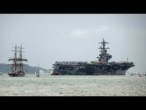 🇺🇸🇬🇧  USS George H W Bush Aircraft Carrier CVN77 Visits Portsmouth England 2017
