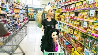 Barbie Dolls And Kelly Ride Motorcycle Supermarket, Barbie Dolls Grocery Store Toys