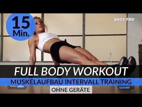 15 Min. Full Body Kraft Intervall Workout fr Muskelaufbau (Ohne Gerte)
