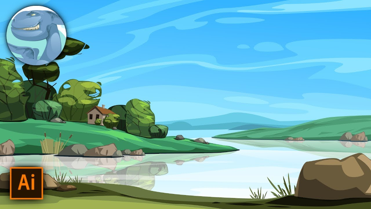 landscape with a river adobe illustrator vector art time lapse video youtube landscape with a river adobe illustrator vector art time lapse video