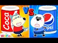 Red vs Blue Food Challenge with Wolfoo - Learn Colors for Kids   Wolfoo Channel kids cartoon