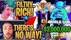 """Streamers React to """"Bugha"""" WINNING the $3,000,000 Solo Fortnite World Cup!"""