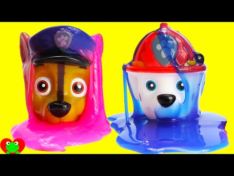 Paw Patrol Chase, Marshall, Skye Slime Each Other with COLORS