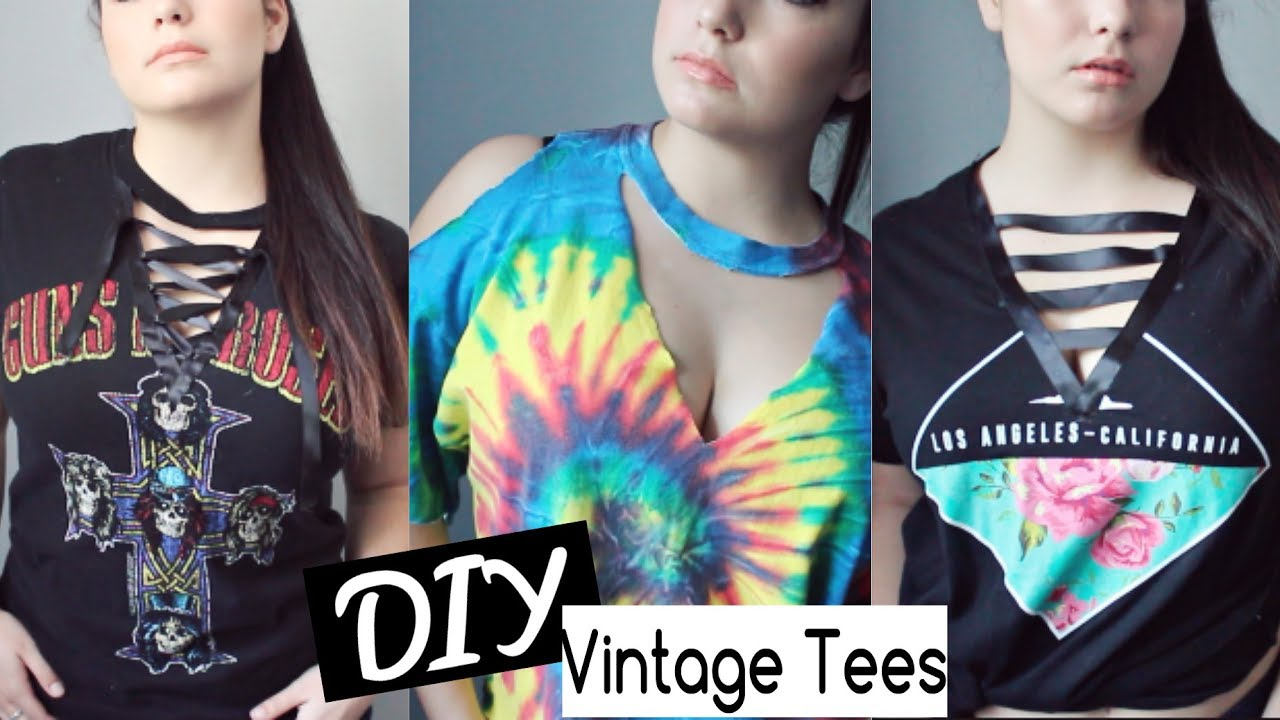 Diy Vintage Cut Out T Shirts Lace Up Shirt Youtube
