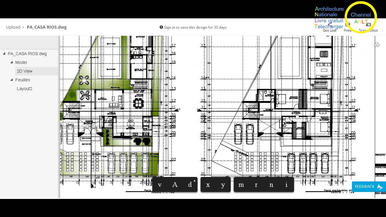maison d 39 habitation autocad dwg youtube. Black Bedroom Furniture Sets. Home Design Ideas