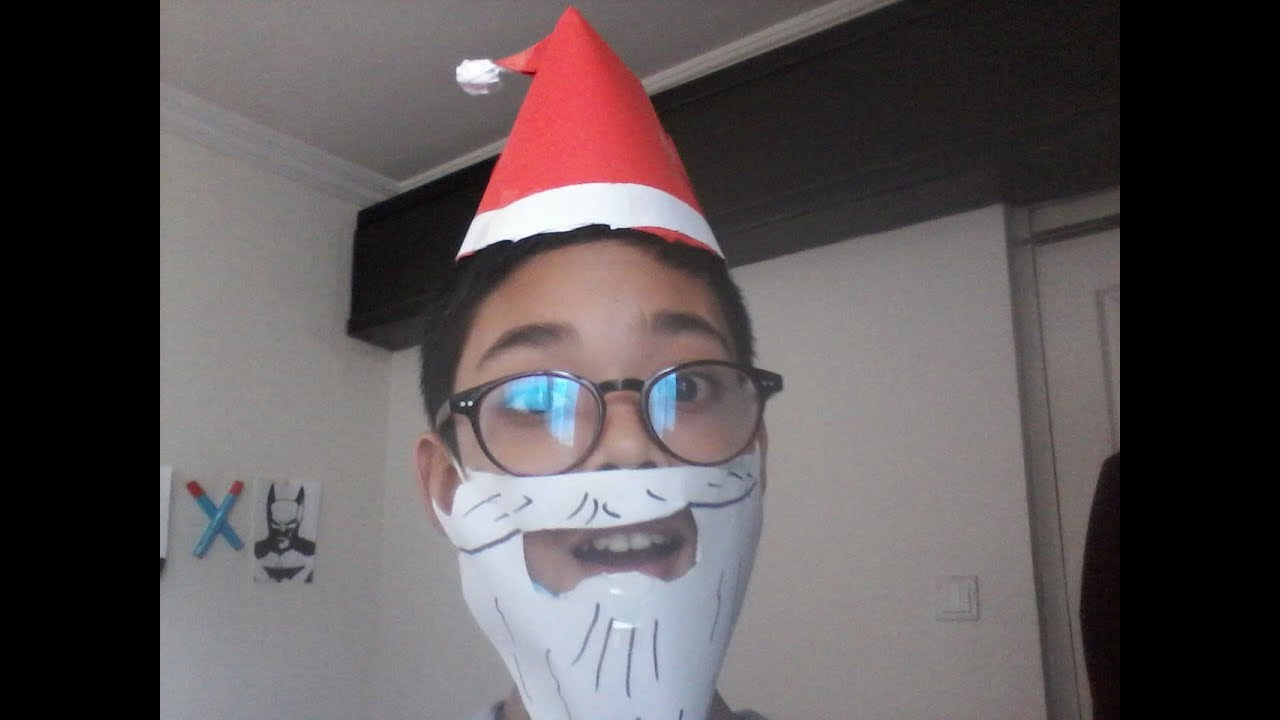 2be4a2bd6d4 How to make an easy paper Santa Claus beard and a Christmas hat ...
