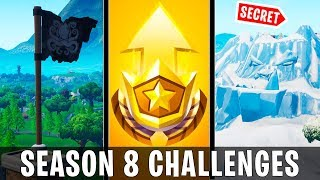 Fortnite Season 8 Week 1 - All Challenge Locations (Secret Coin, 3 Giant Faces, and Pirate Camps!)