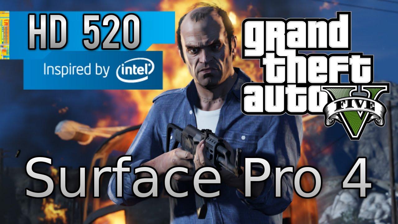 Grand Theft Auto V on Surface Pro 4 Gaming - Intel HD 520 - 8 GB RAM - intel core i5 6300U
