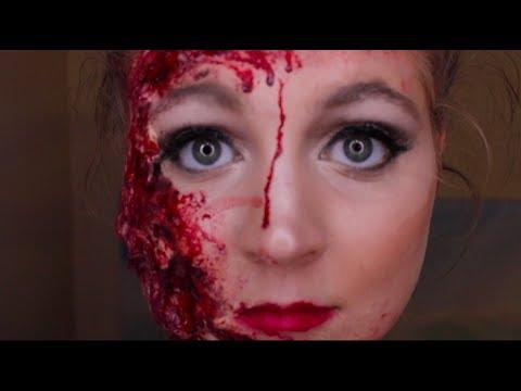 Ripped/Torn Bloody Facial Injury: Gory Halloween SFX Makeup Tutorial!