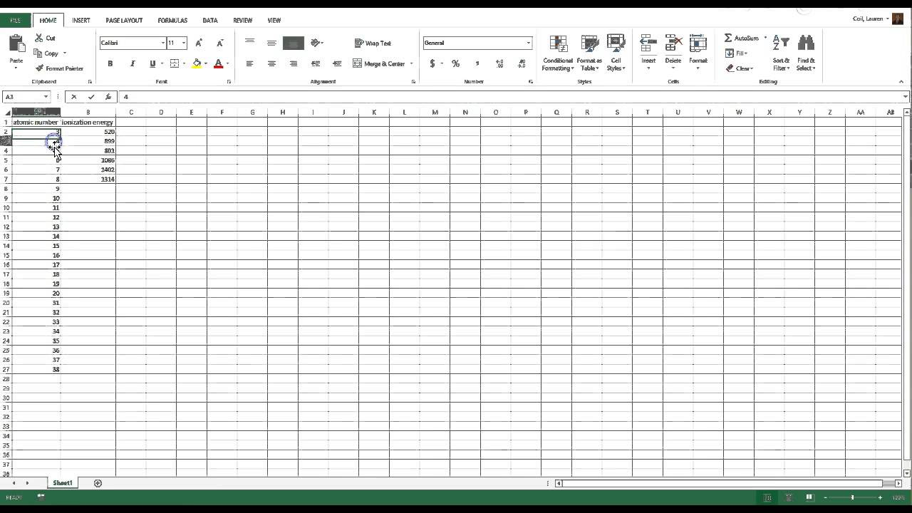 Graphing periodic trends in excel youtube graphing periodic trends in excel urtaz Gallery