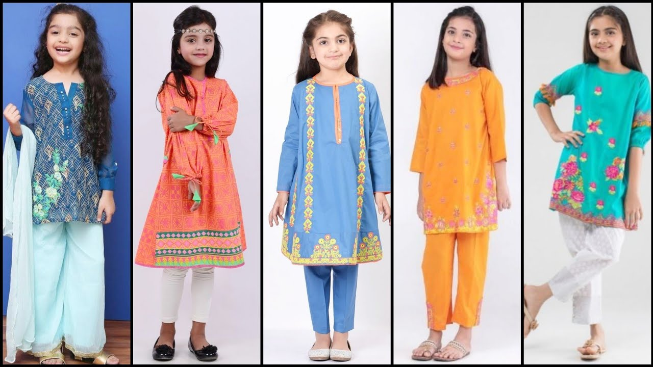 Very Beautiful Little Girls Summer Cotton Suits Designs//Neck Designs//Sleeves Designs