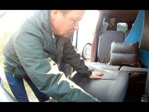Разложим переднее сиденье в ровный пол на, ларгусе, логане, спим в машине с удобством