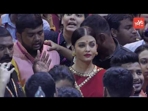 Aishwarya Rai Bachchan Spotted in Red Saree at Lalbaugcha Raja | Ganesh Visarjan 2017 | YOYO TV