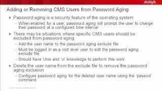 How to Add or Remove Avaya CMS Users from Password Aging