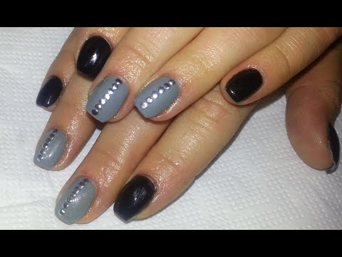Black And Grey Edgy Nails Short Nail Design With Acrylic Gel Polish You