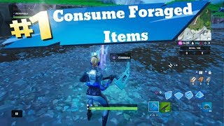Fortnite CONSUME Fruit mushrooms or GLITCHED FORAGED Items junk storm challenge