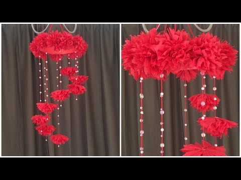 DIY Wind Chime with Paper Roses| Paper Flower Wall Hanging| Easy Wall Decoration With Paper Flower