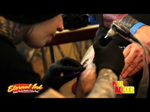 Paul Acker tattooing with Eternal Ink