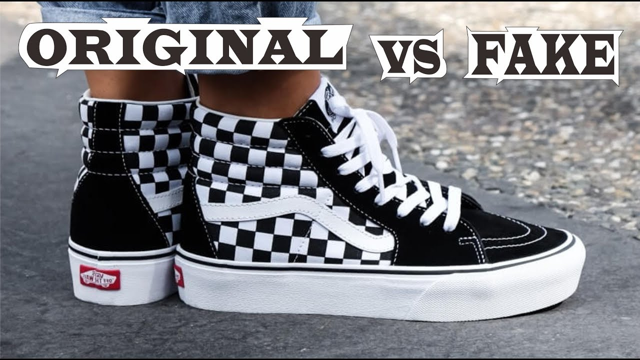 Vans Sk8 Hi Platform Black & White Checkerboard Original & Fake