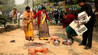 Preparations for pongal making competition at Tamil Nadu House