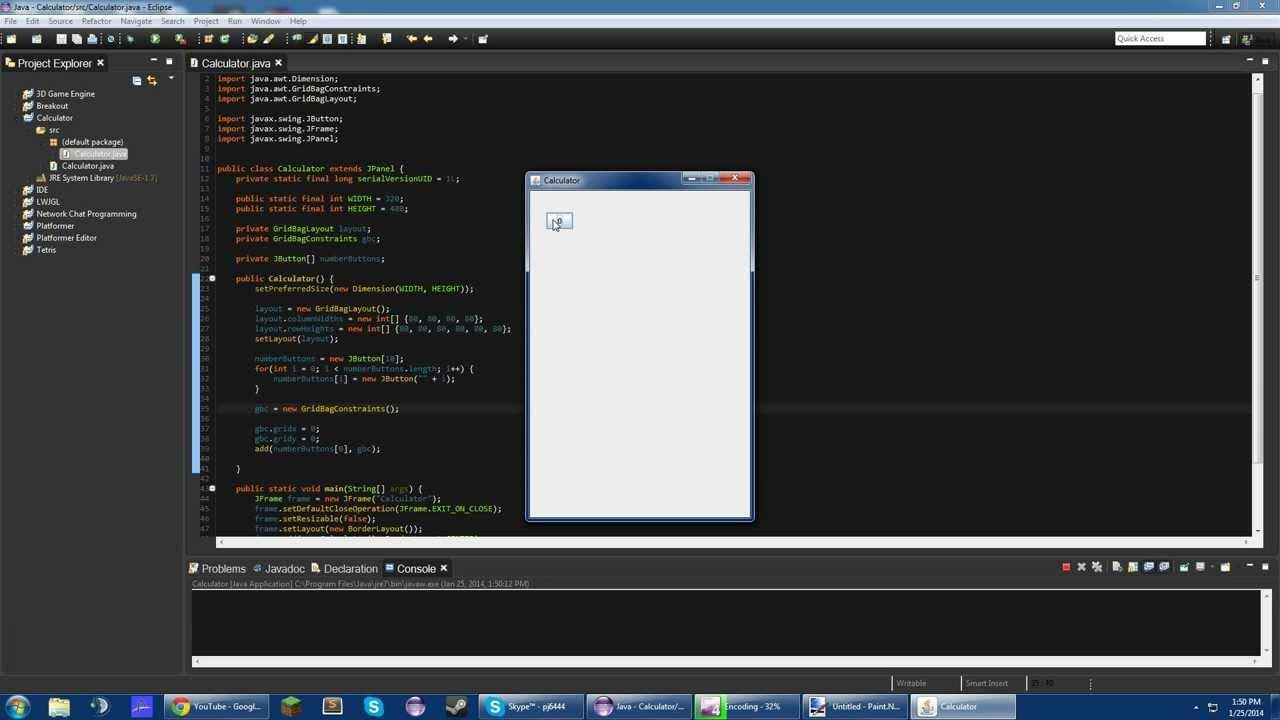 Java gui calculator tutorial new part 2 gridbaglayout youtube baditri Choice Image