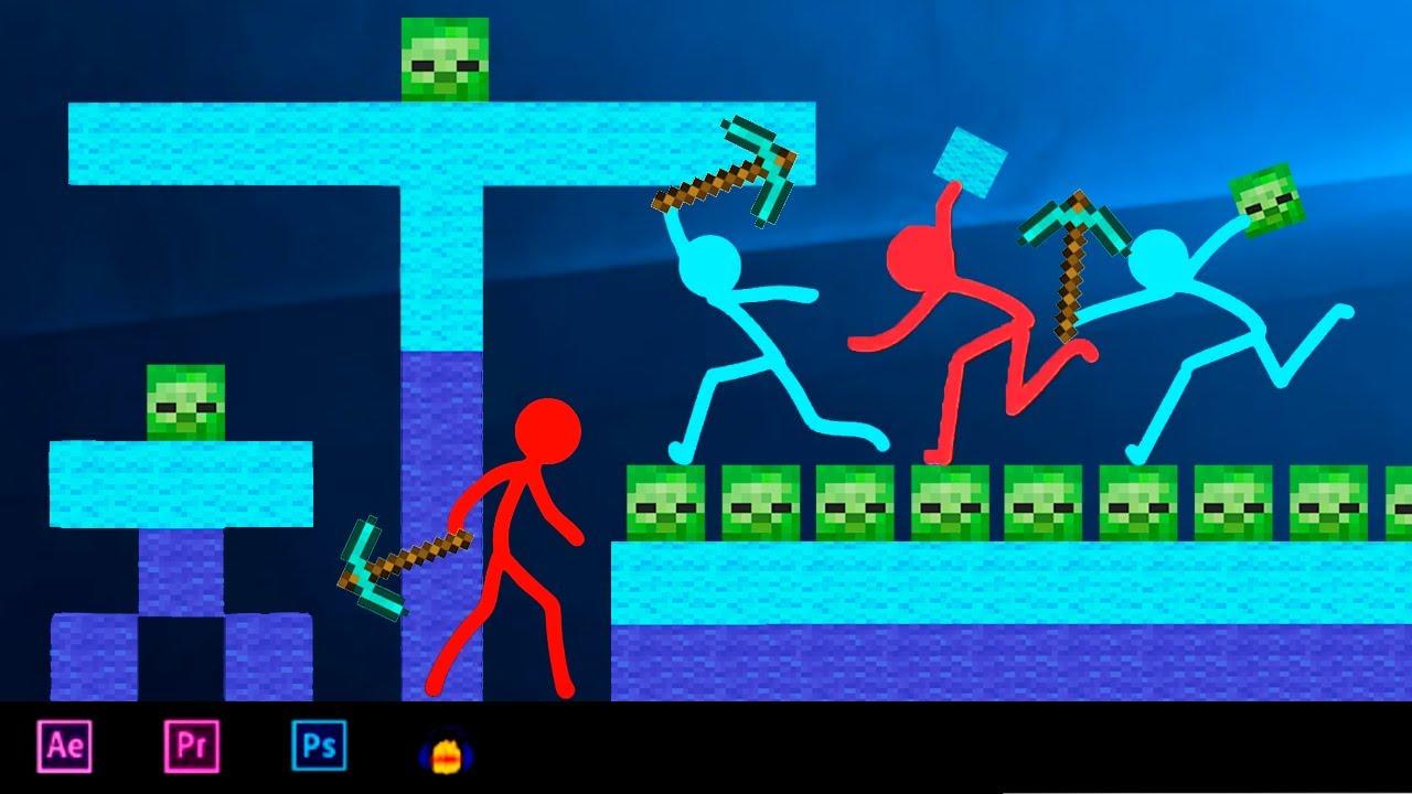 Animation vs Minecraft Stickman Fight (original) Stickman vs Minecraft Animation (Movie Cartoon)