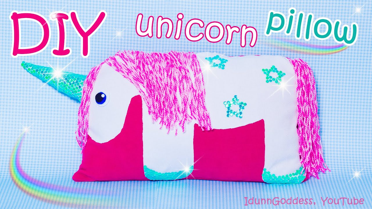 Horse shaped pillows for children - Diy Unicorn Pillow How To Make A Unicorn Pillow Out Of Old Clothes No Sew Tutorial Youtube