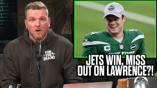 Pat McAfee Reacts To Jets Winning, Possibly Losing On Trevor Lawrence