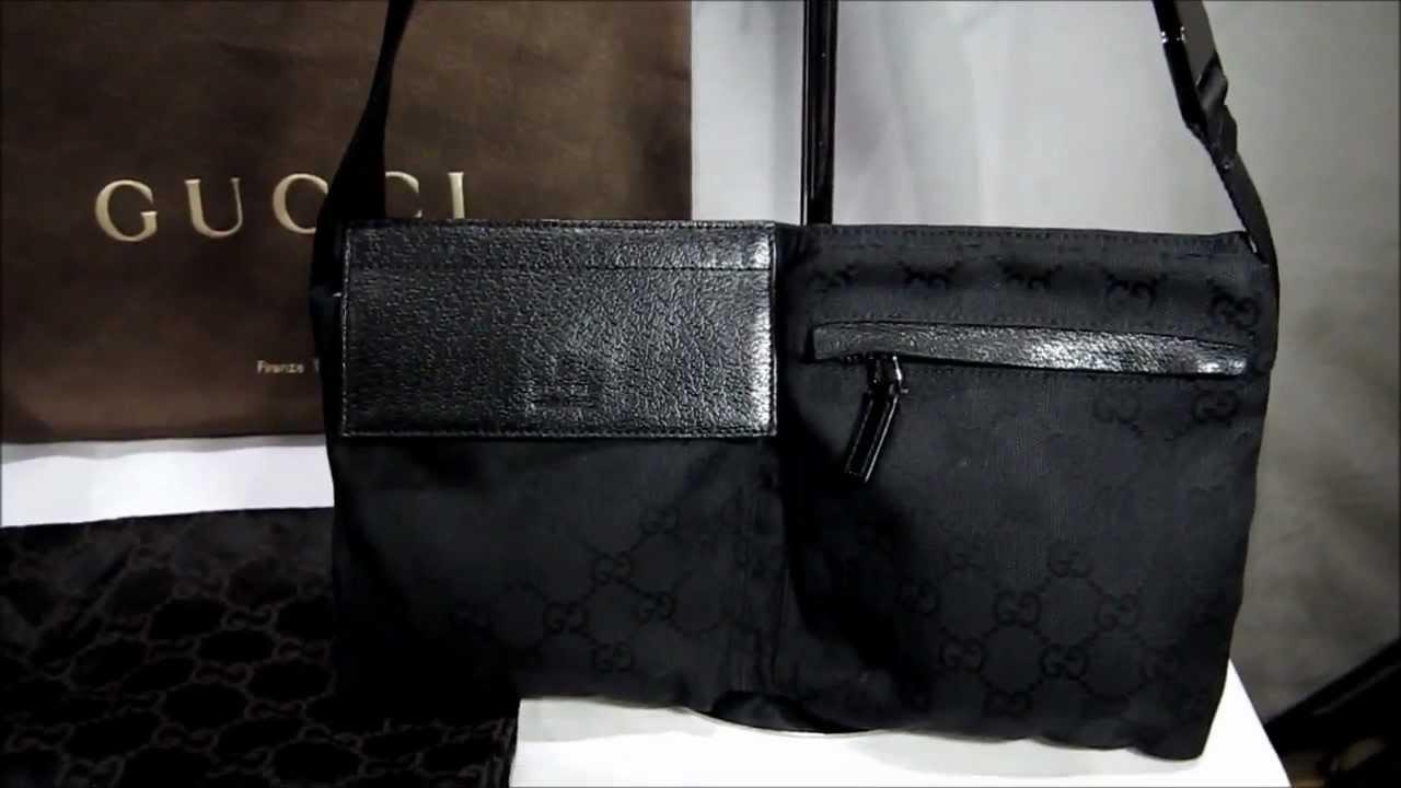 6d9fe13dc328 GUCCI BLACK MONOGRAM BELT BAG - YouTube