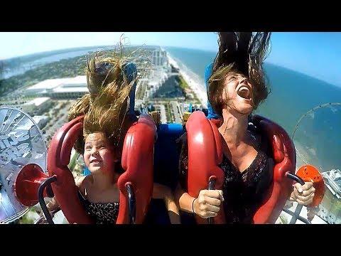 Moms & Daughters #2   Funny Slingshot Ride Compilation