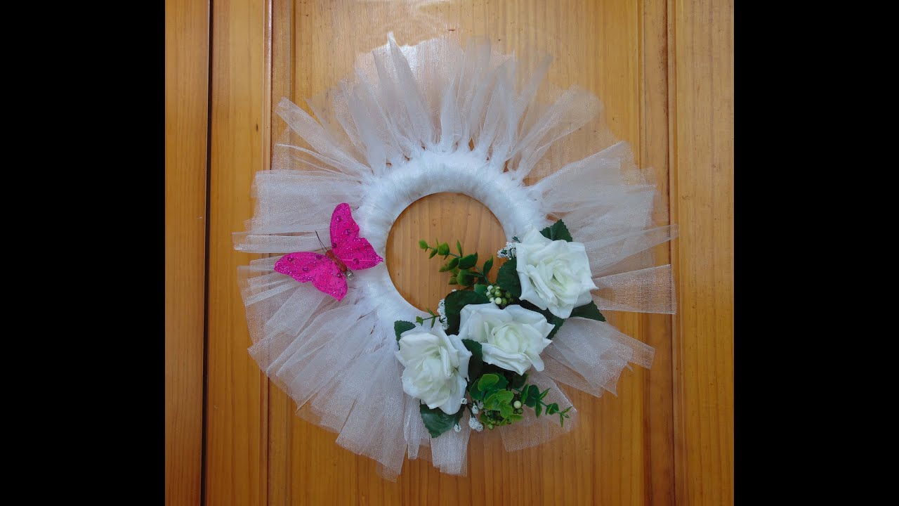 Como hacer una corona para decoraci n de boda youtube for Decoracion con papel