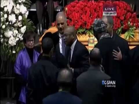 Attorney General Eric Holder At Marion Barry Funeral