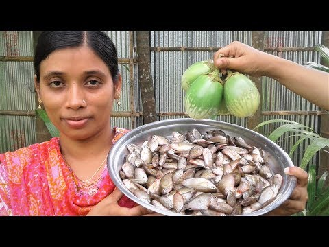 Village Food Recipe Small Fish With Eggplant Curry | Delicious Cooking By Street Village Food