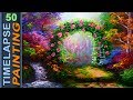 Garden with Flowers Gate and Colorful Trees   BASIC ACRYLIC PAINTING LESSON FOR BEGINNERS