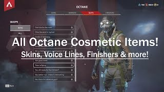 Apex Legends - All Octane Skins, Voice Lines, Finishers & more!