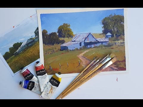 """Learn To Paint TV E28 """"Old Shearing Shed"""" Acrylic Painting Landscape Step By Step"""