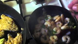 Battered Zucchini Flowers & Garlic Prawns
